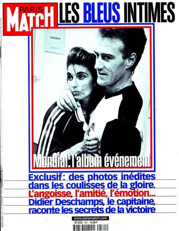 Didier Deschamps avec son épouse Claude en couverture de Paris Match, après la Coupe du monde 1998.