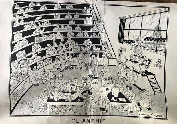 Un dessin, retrouvé par Paris Match, qui figurait sur des chemises en carton que distribuait la librairie parisienne Maloine aux étudiants de Descartes en 1968. Les carabins jouent aux boules avec des crânes. Dans la réalité, des préparateurs jouaient au foot avec des têtes.