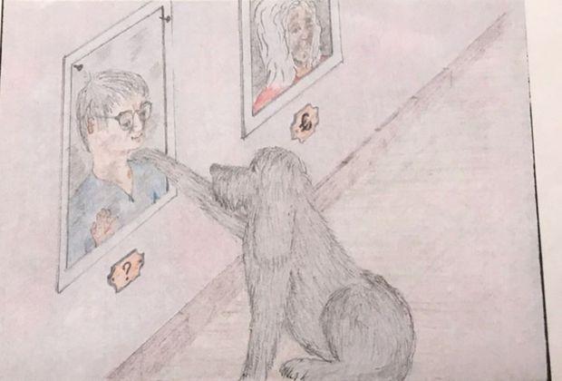 """En 2004, Fourniret offre ce dessin au Dr Ployé, venu l'expertiser. Il se dessine dans un cadre, avec un """"?"""" , pour dire son mystère. Son chien, unique compagnon. À droite, Monique Olivier avec le sigle """"€"""" en dessous. Le Dr Ployé demandera à Monique O. la signification de """"€"""". Réponse: """"Mon mari estime que toutes les femmes sont vénales"""""""