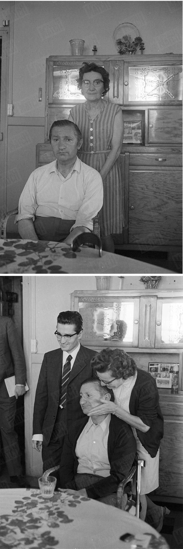 Les parents de Jean-Marie Deveaux. En haut, avant le second procès de leur fils. En bas, avec lui, le sourire retrouvé, après son acquittement.