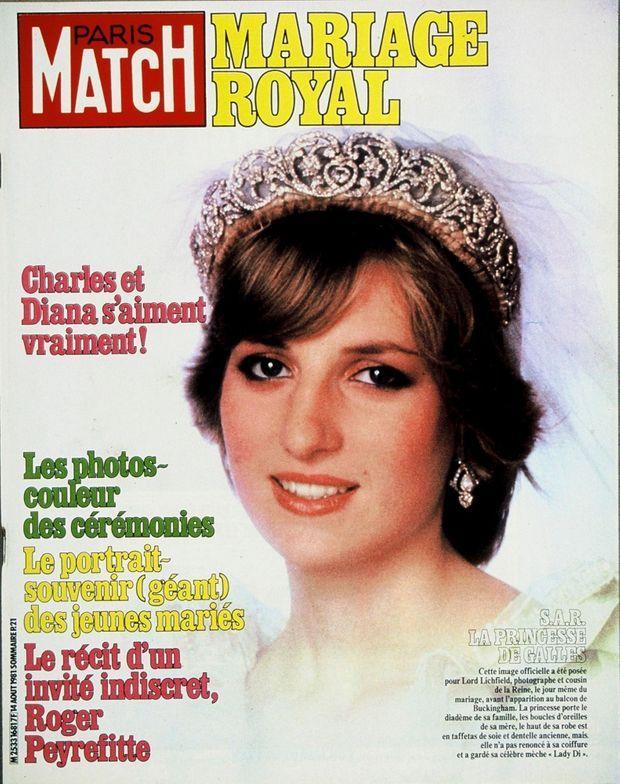 """""""Mariage royal : Charles et Diana s'aiment vraiment !"""" Couverture du Paris Match n°1681 du 14 août 1981."""