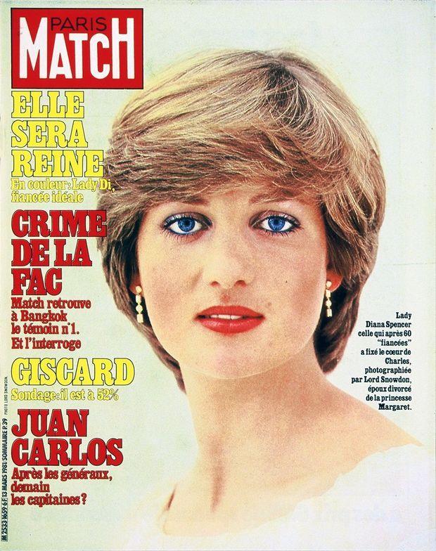 """""""Diana, elle sera reine"""". Couverture de Paris Mach n°1659, daté du 13 mars 1981."""