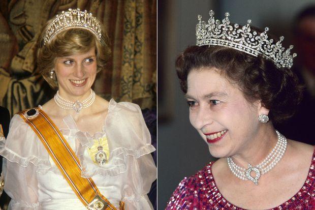 Lady Diana (en 1982) et Elizabeth II (en 1983) portant le collier de perles et de diamants, aujourd'hui prêté à Kate Middleton