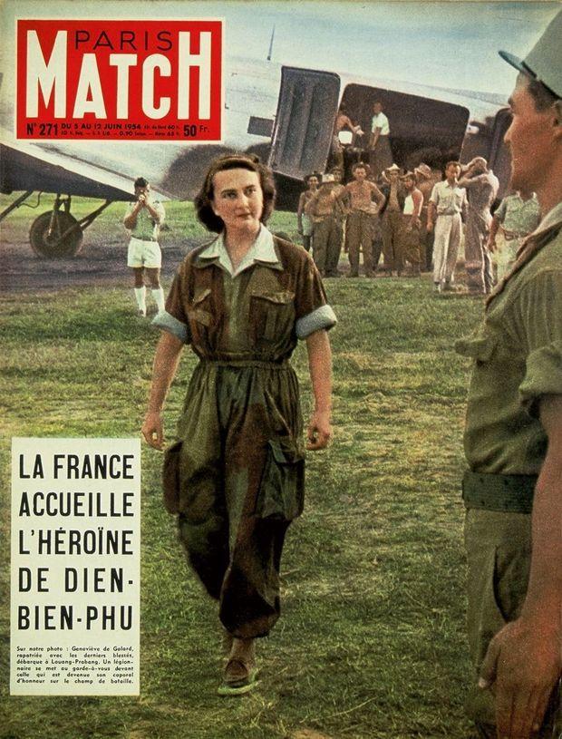 Le 1 er juin 1954, Geneviève de Galard, l'infirmière héroïque de Diên Biên Phu est de retour en France. Huit jours plus tard, elle fait la couverture de Paris Match.