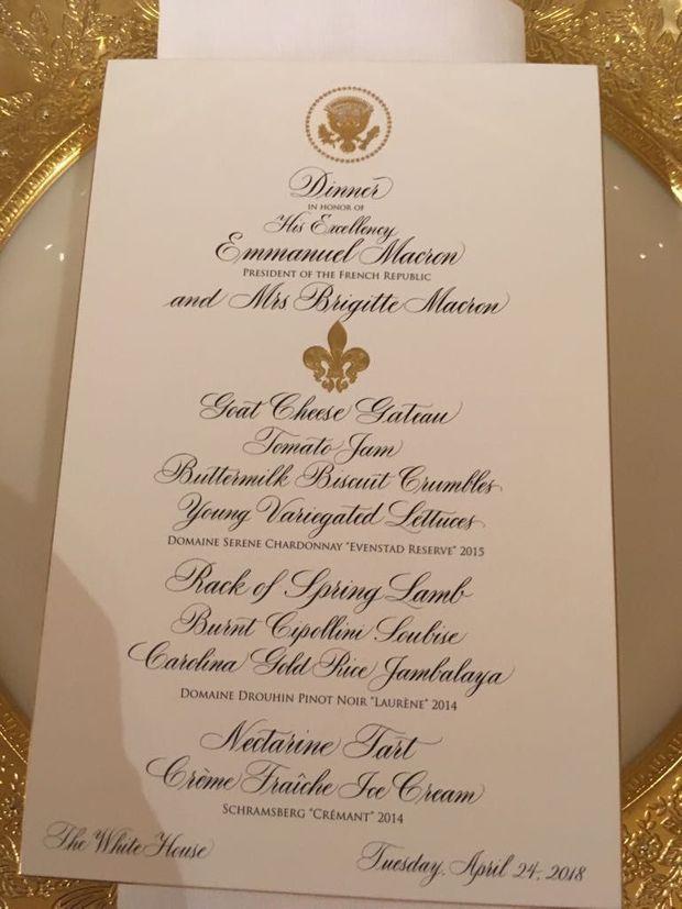 Le menu du dîner d'Etat du 24 avril 2018, donné par Donald Trump en l'honneur d'Emmanuel Macron.