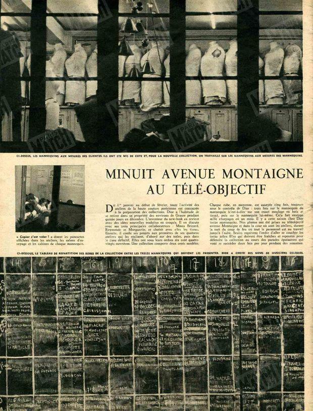 « Minuit, avenue Montaigne, au téléobjectif » - Paris Match n°47, 11 février 1950