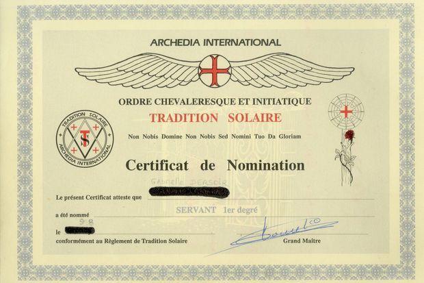 Diplôme de membre de l'« Ordre chevaleresque et initiatique tradition solaire », intitulé officiel de l'Ordre du Temple solaire