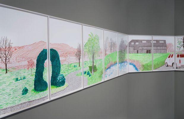 Disposées côte à côte, les œuvres racontent une histoire à la façon d'un dessin animé. Sauf que ce ne sont pas les images qui défilent mais le visiteur qui se déplace. Ces dessins sont exposés à la galerie Pace, à New York.