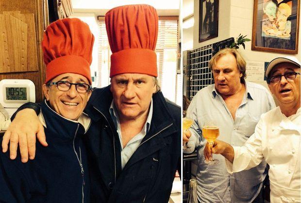 Deux grands ambassadeurs du cidre du domaine de Kervéguen : Gérard Depardieu et le chef deux étoiles Patrick Jeffroy, dans sa cuisine à Carantec.