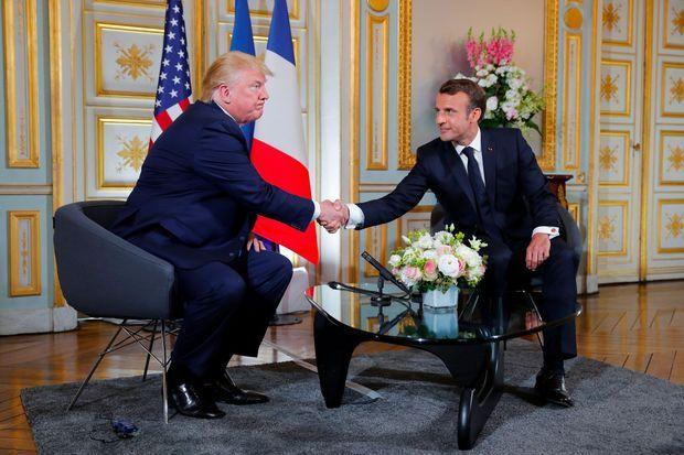 Donald Trump et Emmanuel Macron à Caen, le 6 juin.