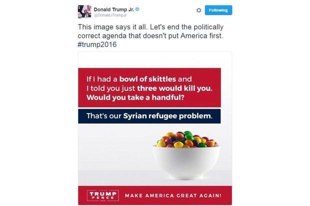 Le tweet de Donald Trump Jr comparant les réfugiés à des Skittles.