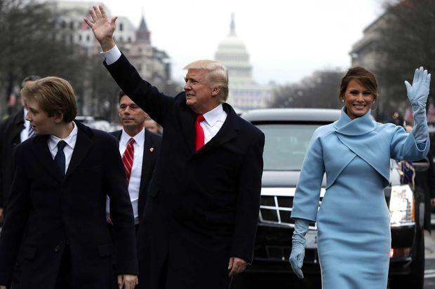 Barron, Donald et Melania Trump à Washington, le 20 janvier 2017.