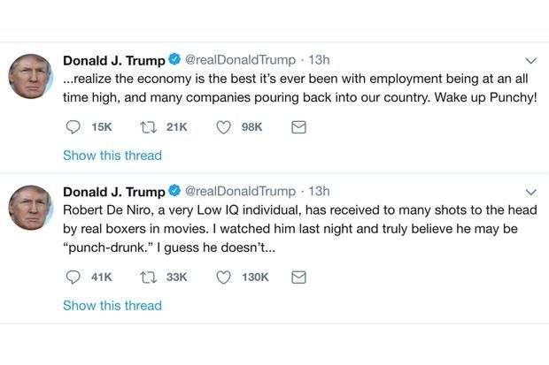 Les tweets de Donald Trump sur Robert De Niro, depuis effacés.