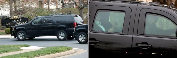 Donald Trump arrivant puis repartant du Trump Hotel de Potomac Falls, les 25 et 26 mars 2017.
