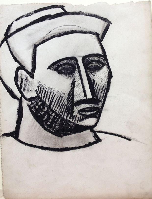 """Donation de Maya au Musée Picasso : """"Dessin cubiste. Portrait de femme"""", de Pablo Picasso, 1908."""
