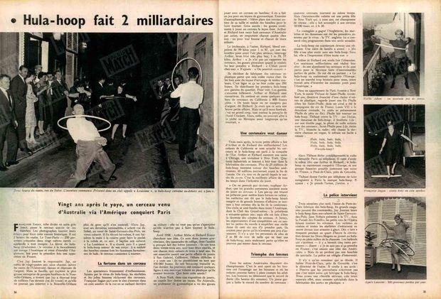 La folie hula-hoop dans Paris Match n°498, daté du 25 octobre 1958.