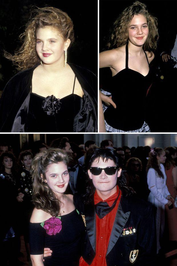 Drew Barrymore en 1987, en 1988, et en 1989 avec son ami Corey Feldman (de haut en bas, de gauche à droite).