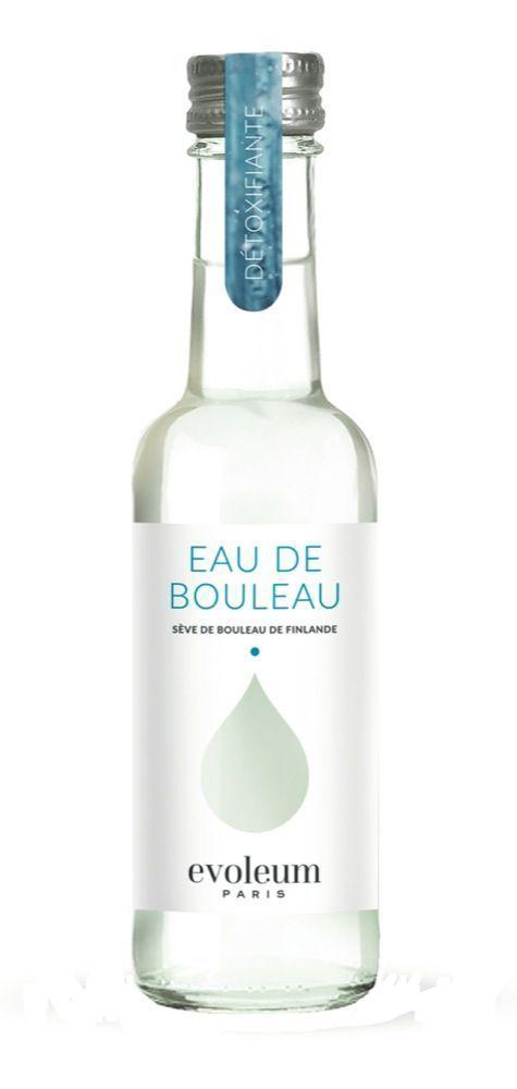 Eau de bouleau, Evoleum, 29 € les 6 bouteilles en verre de 20 cl.