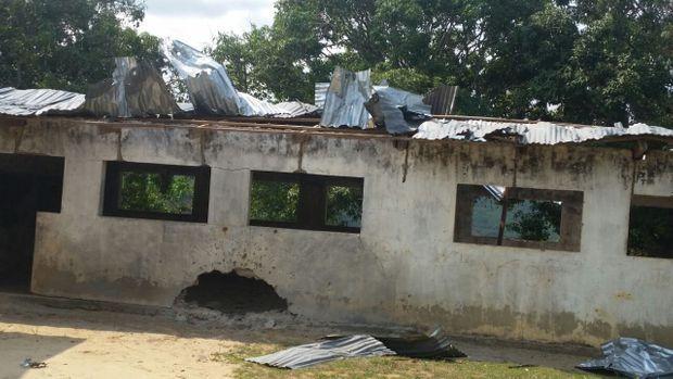 Photo reçue début octobre d'une école bombardée dans le Pool par l'armée de Sassou Nguesso. Dans cette région de Congo-Brazzaville, les enfants n'auraient pas pu rentrer à l'école cette années.