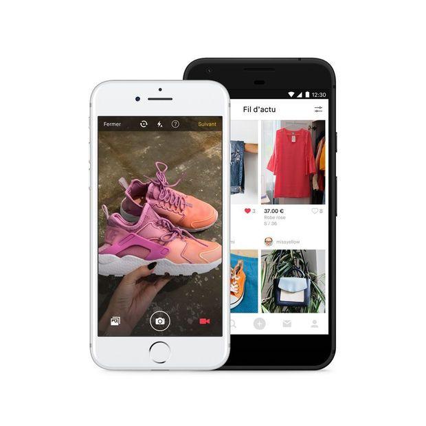 Ecrans montrant l'application Vinted sur mobile.
