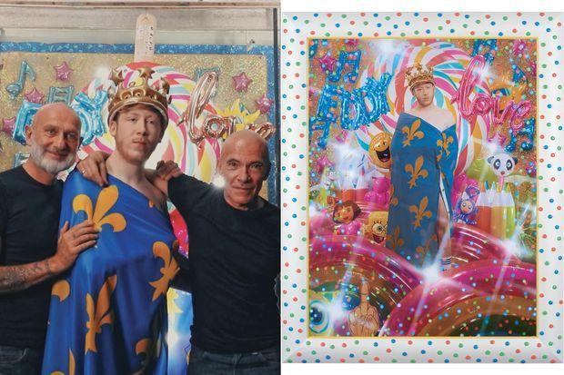 Les artistes Pierre et Gilles lors de leur séance avec Eddy de Pretto.