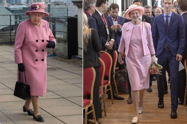 La reine Elizabeth II d'Angleterre à Londres et la reine Margrethe II de Danemark à Buenos Aires, le 19 mars 2019