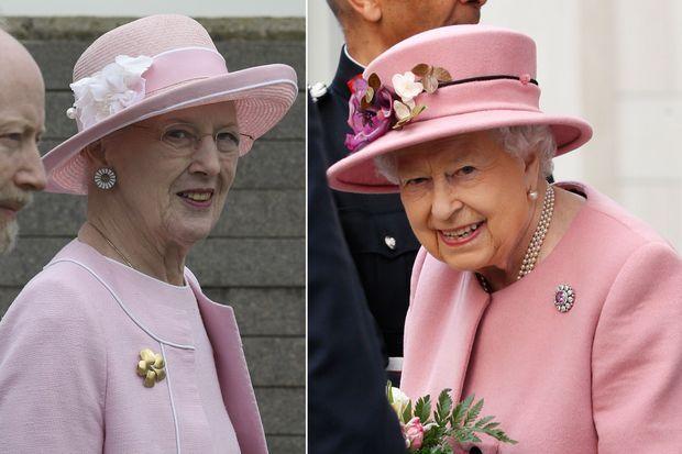 La reine Margrethe II de Danemark à Buenos Aires et la reine Elizabeth II d'Angleterre à Londres, le 19 mars 2019