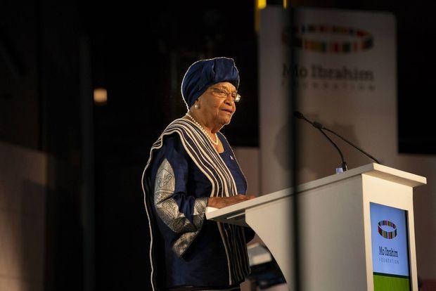 L'ancienne présidente du Libéria Ellen Johnson Sirleaf lors de la remise de son prix à Kigali le 27 avril 2018