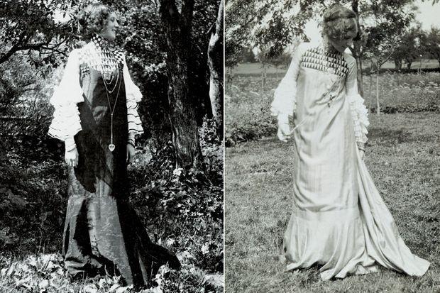 Emilie Flöge en 1906 dans des robes dessinées par Gustav Klimt
