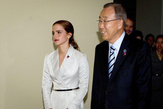 Emma Watson samedi dernier, avec Ban Ki-moon, secrétaire général de l'ONU.