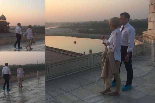Emmanuel et Brigitte Macron visitent le Taj Mahal vidé de ses touristes, le 11 mars.