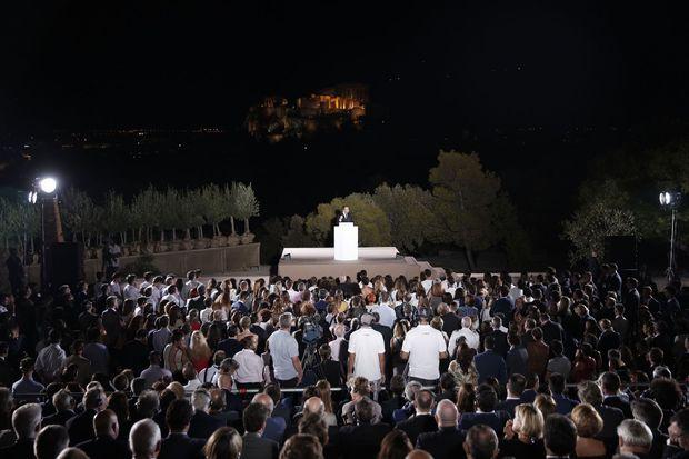 Emmanuel Macron à la Pnyx à Athènes, le 7 septembre.