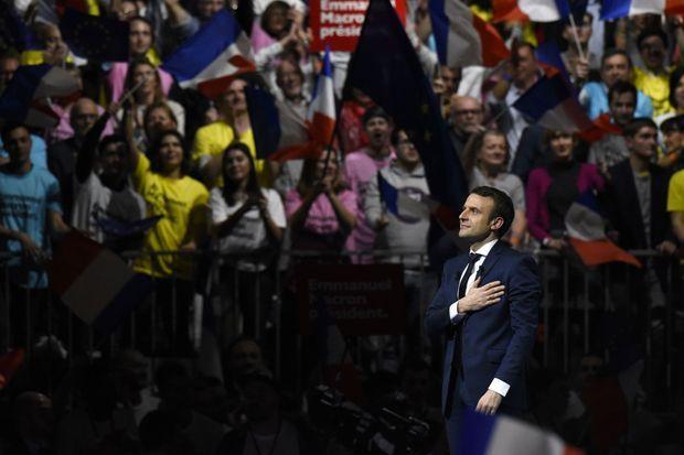 Emmanuel Macron en meeting à Lyon, le 4 février.