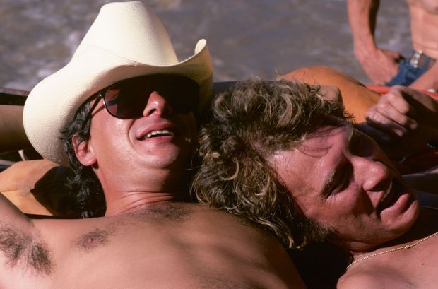 En 1978 avec Johnny Hallyday : trois jours de rigolade et de rafting dans les rapides du Colorado.