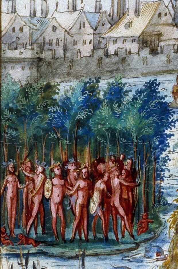 Détail du village indien sur la miniature figurant l'entrée royale d'Henri II et Catherine de Médicis à Rouen le 1er octobre 1550 (Bibliothèque municipale de Rouen)
