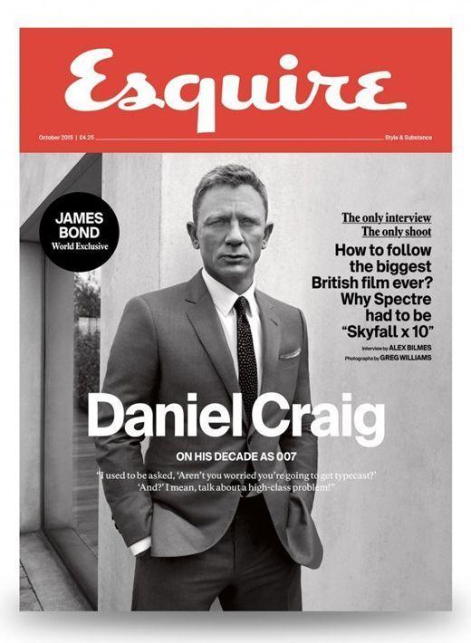 """L'acteur Daniel Craig en couverture du """"Esquire"""" du mois d'octobre 2015."""