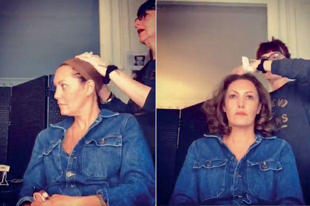 Essai de perruque pour Karole Rocher, qui joue le rôle de Madame Claude
