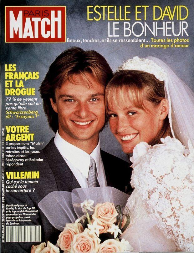 Le mariage d'Estelle et David Hallyday en couverture de Paris Match n°2105, daté du 28 septembre 1989