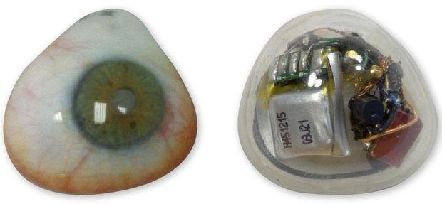 A g. : Lentille en silicone. A dr. : la caméra analogique avec sa batterie et son micro sans fil.