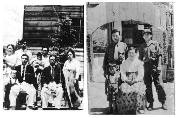 A g., en 1948, peu après leur arrivée au sud, Yong-sok O, le père de Cédric O, dans les bras de sa mère Yeo Oun Hi (au centre). A dr., Yeo Oun Hi (au centre) et Yong-sok près de Séoul en 1951.