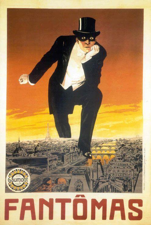 Affiche de la première adaptation cinématographique de Fantômas par Louis Feuillade (1913)