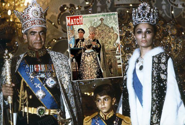 """""""Le couronnement du Shah et de la Shabanou le 27 octobre 1967. Mais la nouvelle impératrice est Farah Diba, qu'il a épousée le 21 décembre 1959 après son divorce avec Soraya, et qui lui a donné en 1960 un fils, Cyrus."""" - Paris Match n°1548, 26 janvier 1979"""