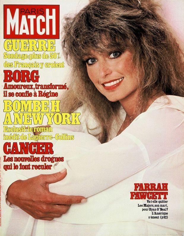 « Farrah Fawcett : Va-t-elle quitter Lee Majors, son mari, pour Ryan O'Neal ? L'Amérique s'émeut ? » - Couverture de Paris Match n°1602, 8 février 1980