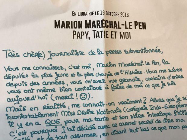 """Le communiqué de presse envoyé aux médias pour la promotion du """"faux carnet"""" de Marion Maréchal-Le Pen."""