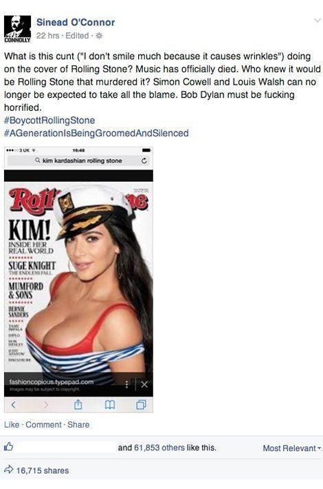 Sindéad O'Connor s'emporte sur sa page Facebook et appelle au boycott de
