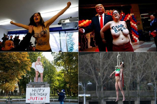 Quelques actions des Femen pour dénoncer Silvio Berlusconi, Donald Trump, Vladimir Poutine ou encore Hassan Rohani.