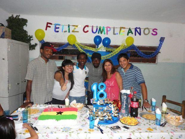 Une fête en l'honneur du jeune footballeur.