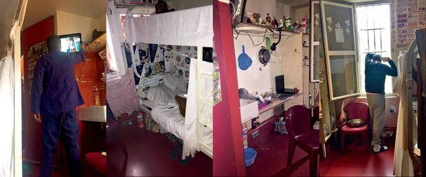 De g à dr. : loué une quinzaine d'euros par mois, le téléviseur reste allumé en permanence. La « chambre » : lits superposés et pages de BD pour décorer. Le coin cuisine. Et l'activité principale : fumer.