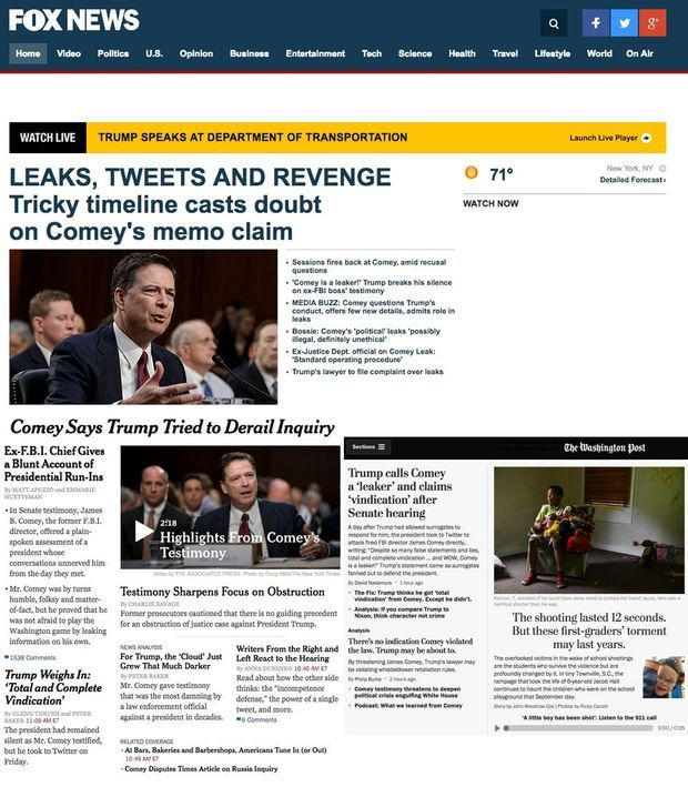 Capture d'écran des sites de Fox News, du «New York Times» et du «Washington Post».