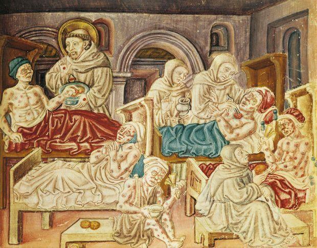 Franciscains traitant des pestiférés en Italie, au XVe siècle, sur une miniature tirée d'un manuscrit attribué à Jacopo Oddi, à Pérouse.